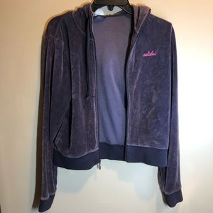 vintage purple velvet adidas velour zip-up jacket
